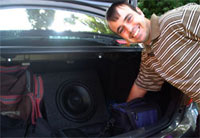 Anthony has speakers in his boot