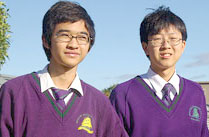 Brighton Secondary College purple jumpers.