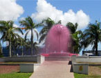 The pink fountain in Mackay marks World AIDS Day
