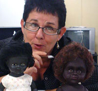 Liz with dolls