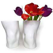 Vases in the shape of the knees of footballers