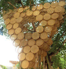Diana Kupke enjoys the look of this bamboo tree house