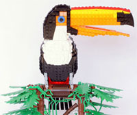 Tropical bird made from Lego by