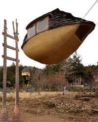 A Japanese teahouse inside a mudboat