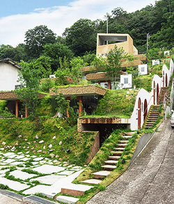 Grass roofs designed by Nagata