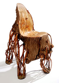 Chair made from the trunk of an oak tree