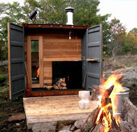 Shipping container is transformed into an expensive sauna
